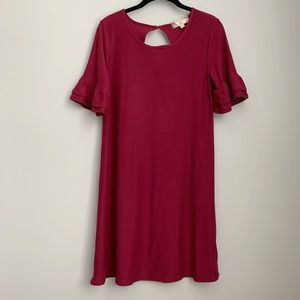 Pink Rose Maroon Soft Ruffle Sleeve Dress A5